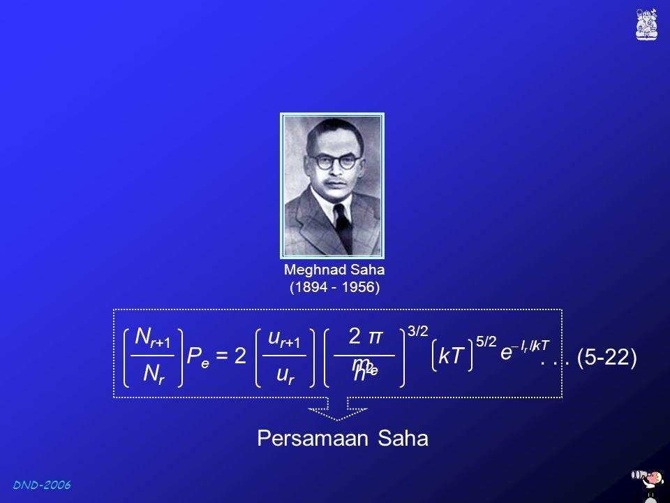 Pe = 2 kT e Nr+1 Nr ur+1 ur 2 π me h2 . . . (5-22) Persamaan Saha