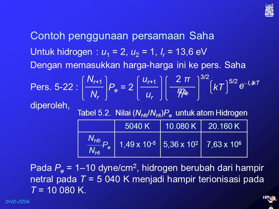 Tabel 5.2. Nilai (NHII/NHI)Pe untuk atom Hidrogen