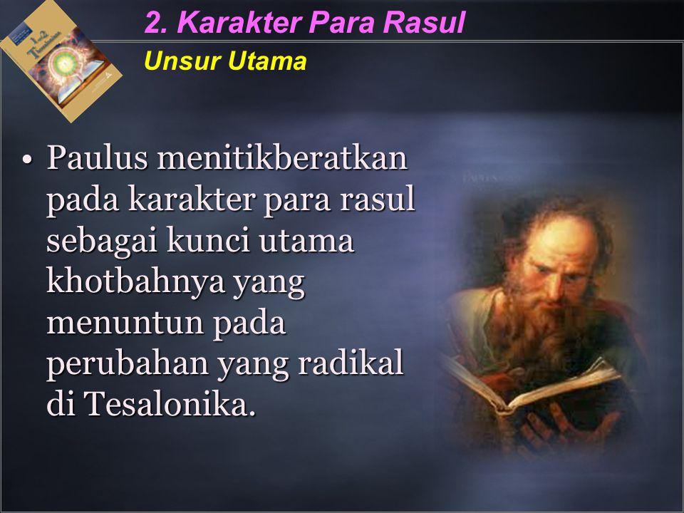 2. Karakter Para Rasul Unsur Utama