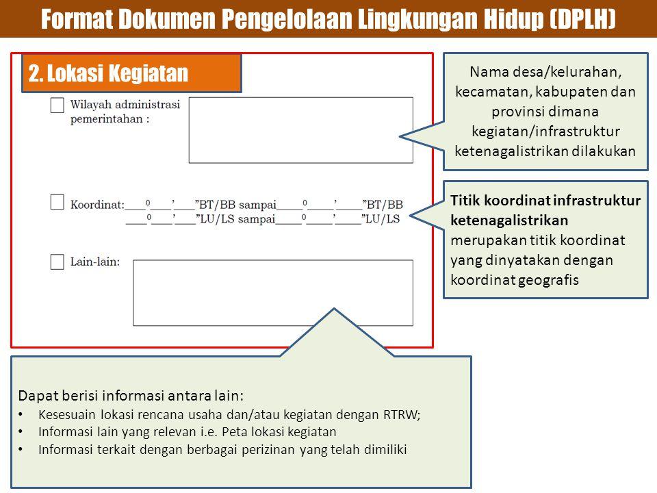 Format Dokumen Pengelolaan Lingkungan Hidup (DPLH)