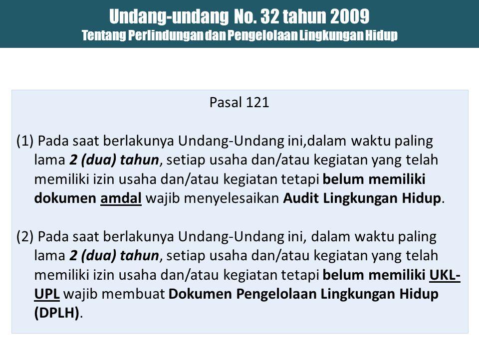 Undang-undang No. 32 tahun 2009 Tentang Perlindungan dan Pengelolaan Lingkungan Hidup