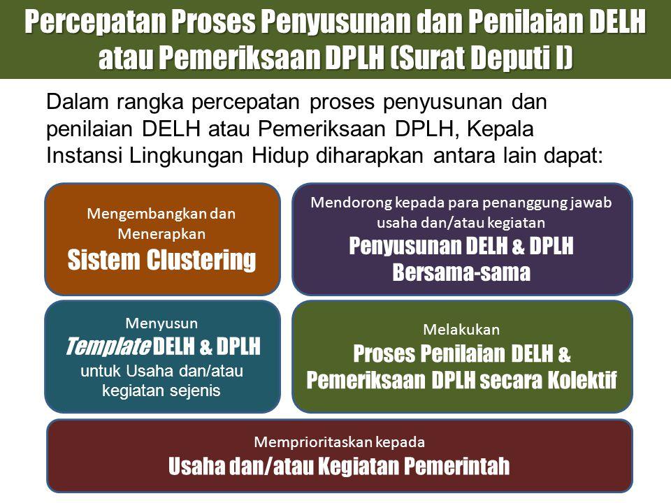 Percepatan Proses Penyusunan dan Penilaian DELH atau Pemeriksaan DPLH (Surat Deputi I)