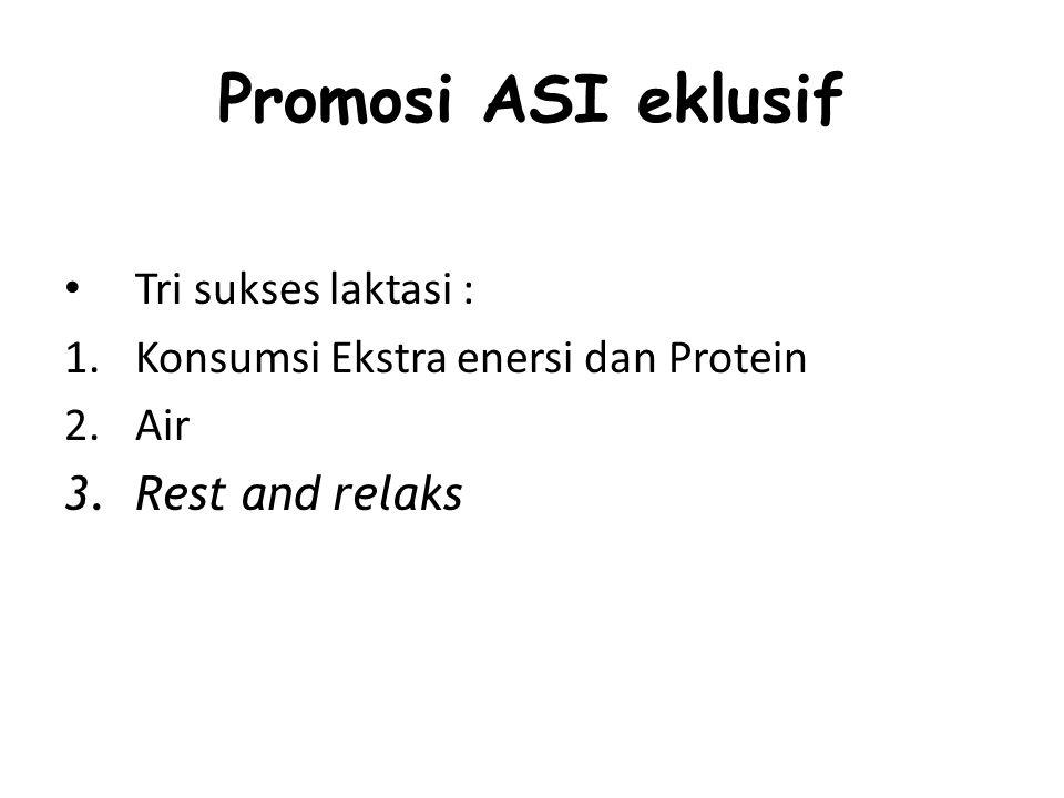 Promosi ASI eklusif Tri sukses laktasi :