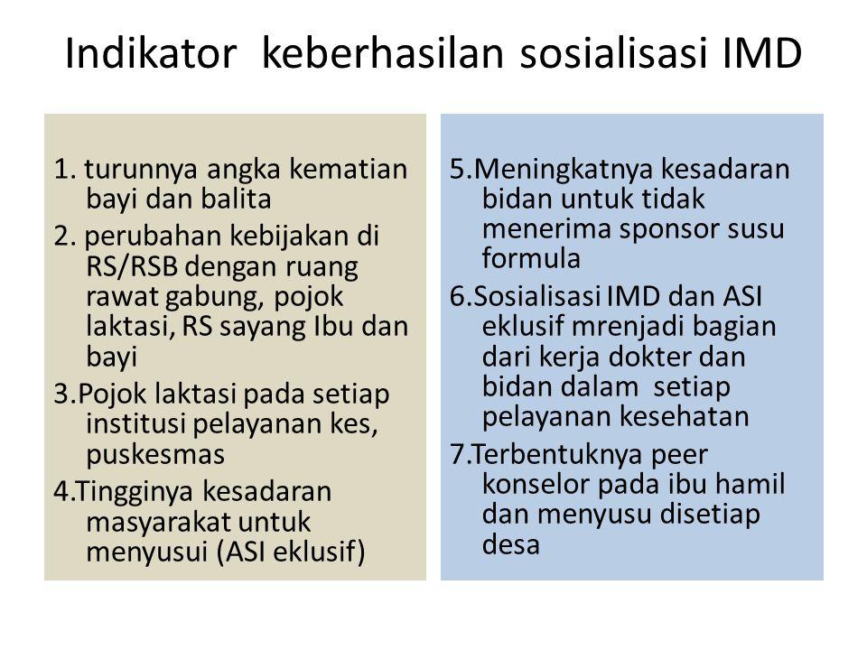 Indikator keberhasilan sosialisasi IMD