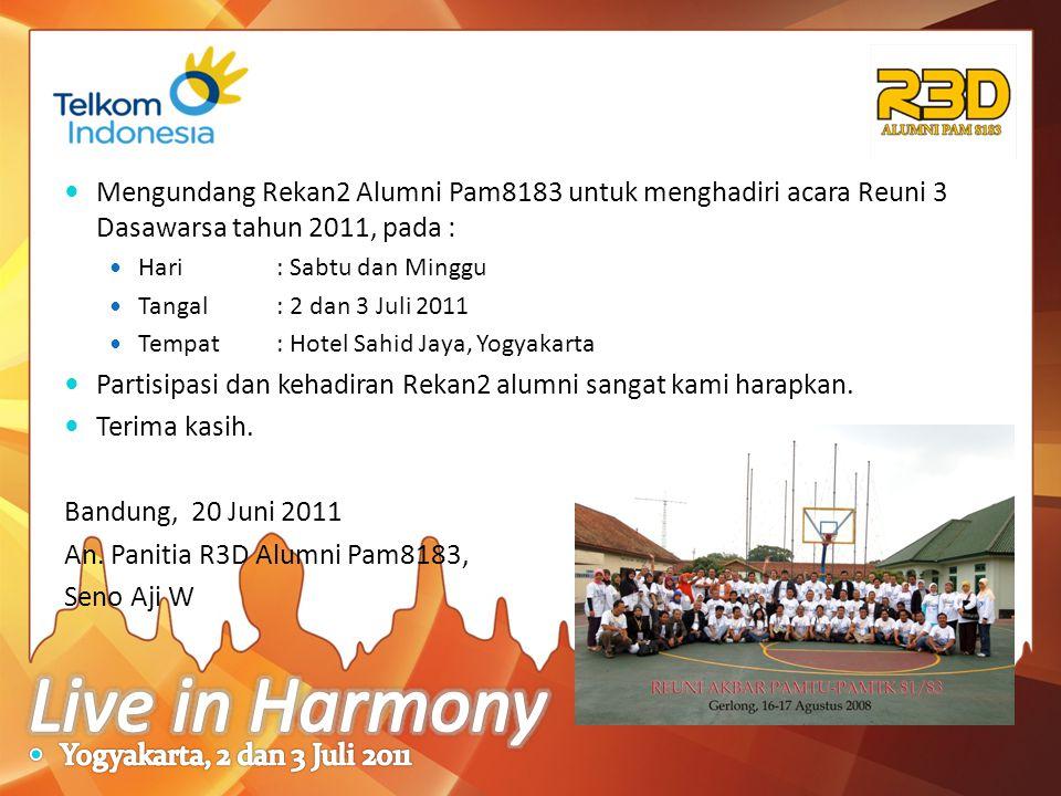 Mengundang Rekan2 Alumni Pam8183 untuk menghadiri acara Reuni 3 Dasawarsa tahun 2011, pada :