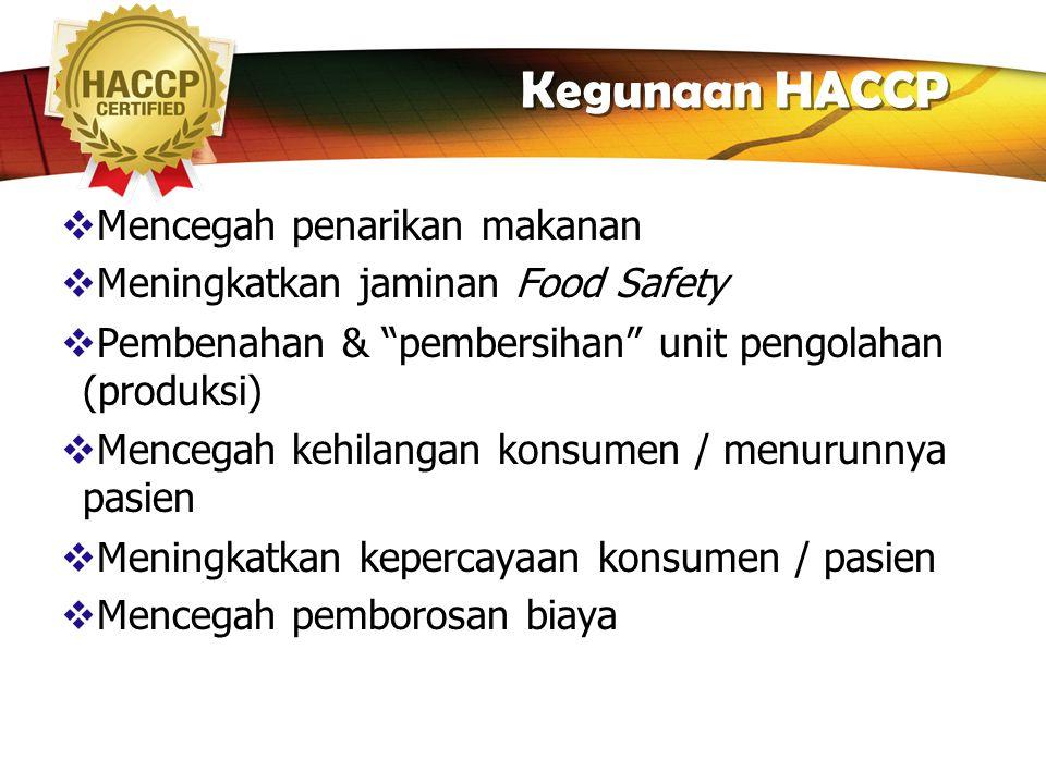 Kegunaan HACCP Mencegah penarikan makanan