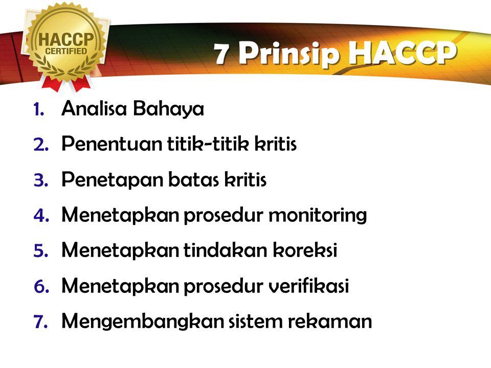 7 Prinsip HACCP Analisa Bahaya Penentuan titik-titik kritis