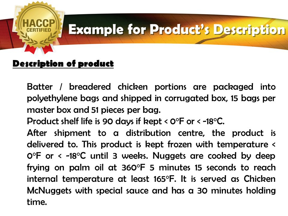 Example for Product's Description