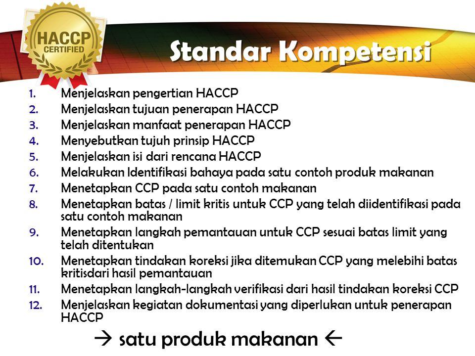 Standar Kompetensi Menjelaskan pengertian HACCP
