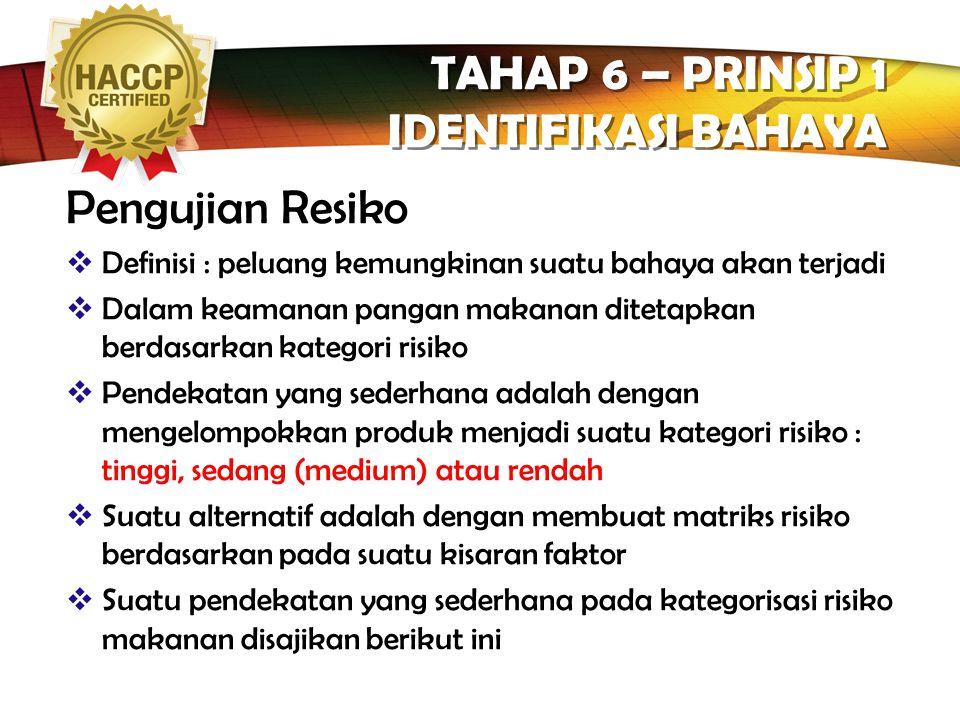 TAHAP 6 – PRINSIP 1 IDENTIFIKASI BAHAYA