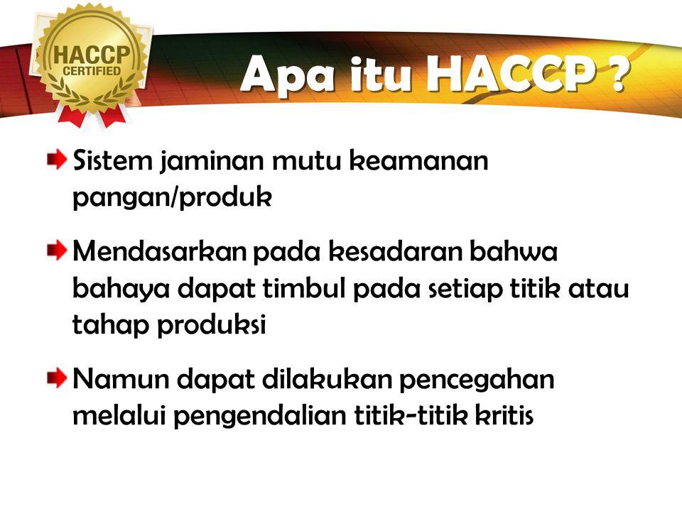 Apa itu HACCP Sistem jaminan mutu keamanan pangan/produk