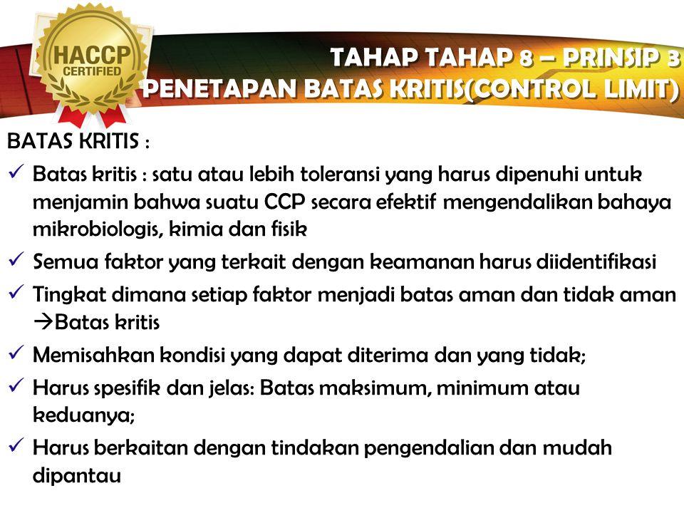 PENETAPAN BATAS KRITIS(CONTROL LIMIT)