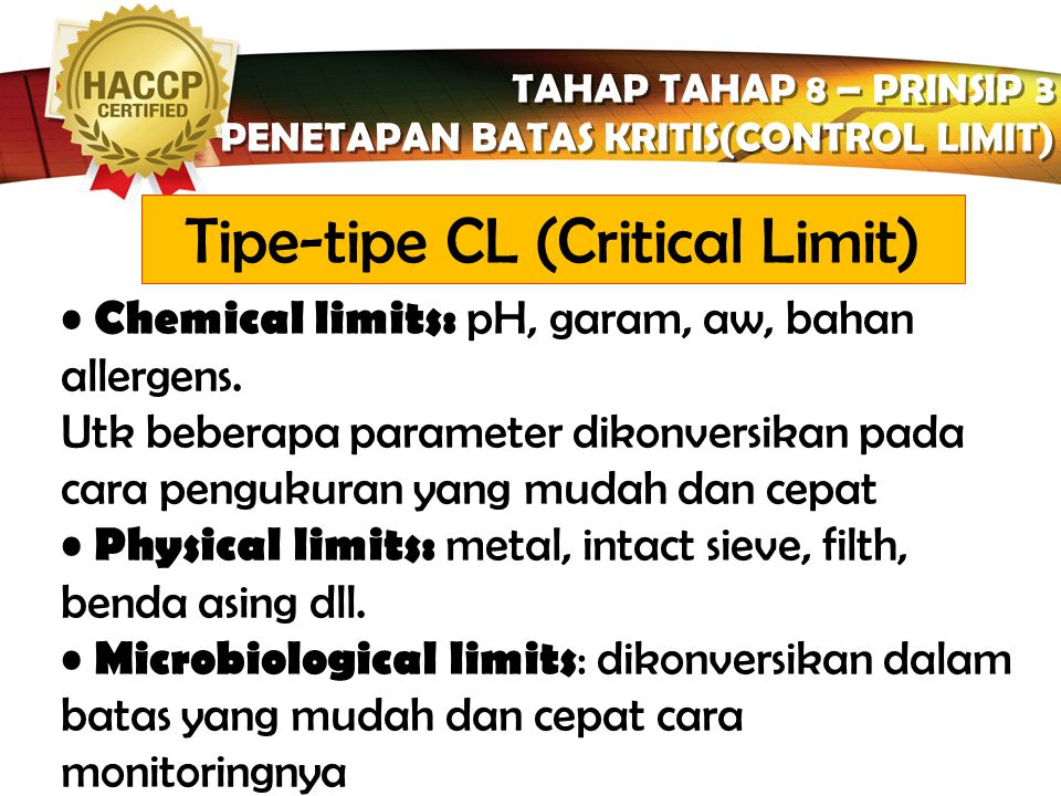Tipe-tipe CL (Critical Limit)
