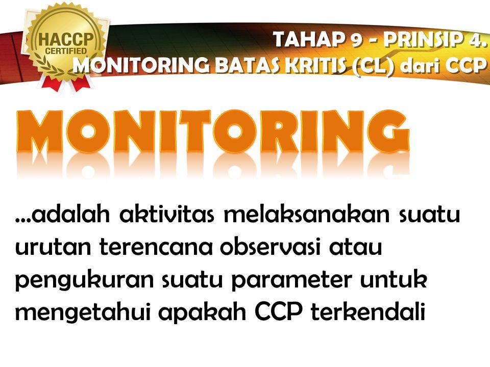 TAHAP 9 - PRINSIP 4. MONITORING BATAS KRITIS (CL) dari CCP. MONITORING.