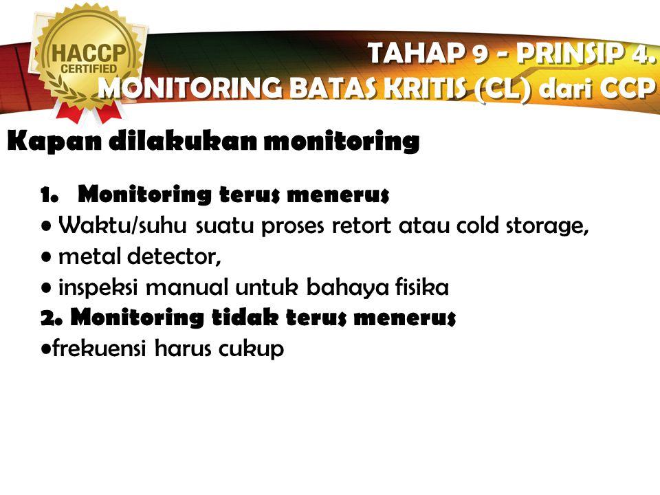 MONITORING BATAS KRITIS (CL) dari CCP