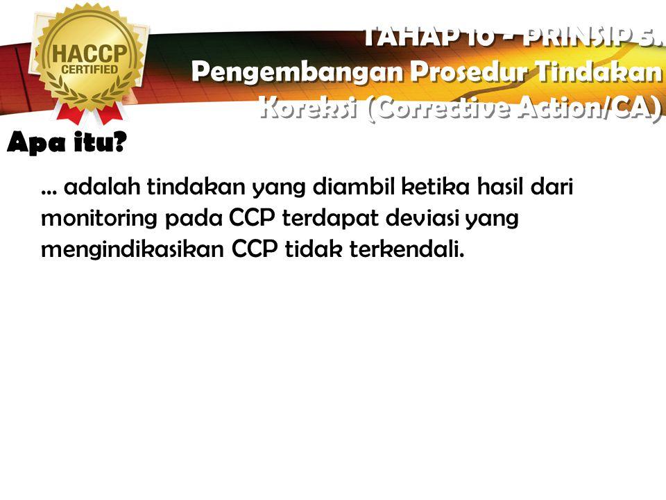 Pengembangan Prosedur Tindakan Koreksi (Corrective Action/CA)
