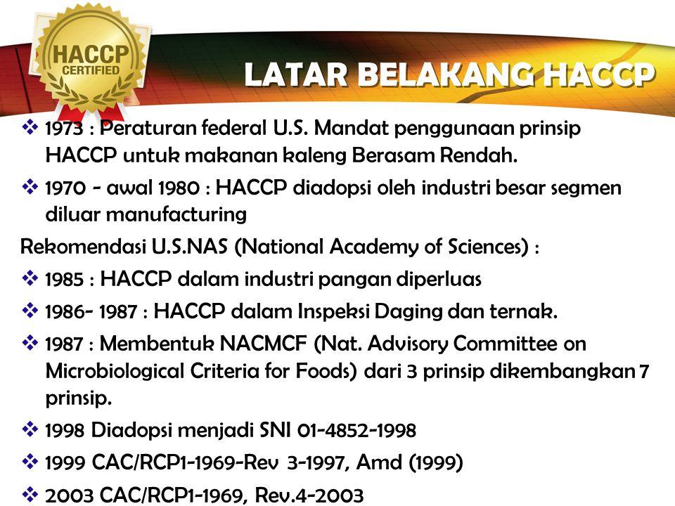 LATAR BELAKANG HACCP 1973 : Peraturan federal U.S. Mandat penggunaan prinsip HACCP untuk makanan kaleng Berasam Rendah.