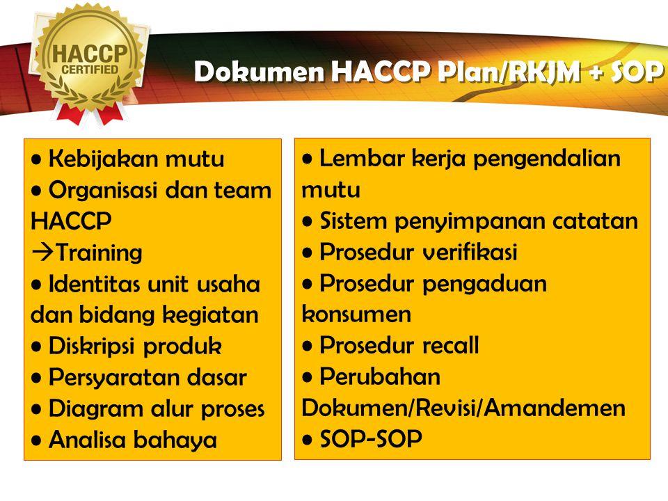 Dokumen HACCP Plan/RKJM + SOP