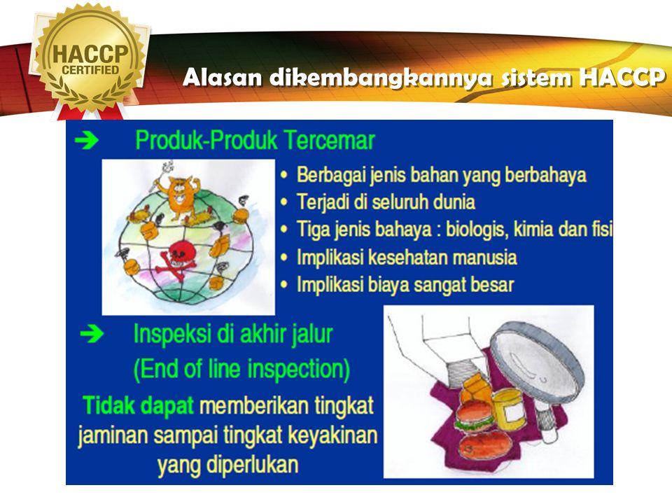 Alasan dikembangkannya sistem HACCP
