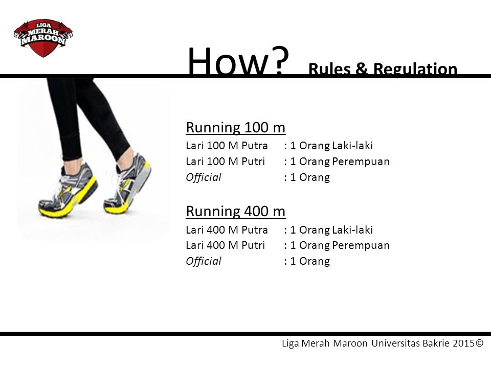 How Rules & Regulation Running 100 m Running 400 m