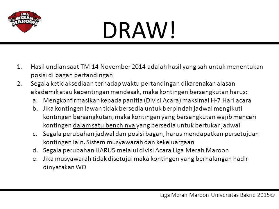 DRAW! 1. Hasil undian saat TM 14 November 2014 adalah hasil yang sah untuk menentukan posisi di bagan pertandingan.