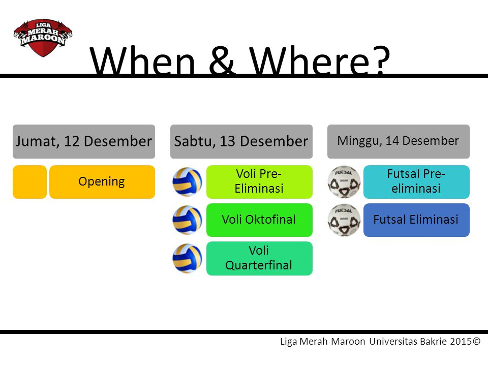 When & Where Jumat, 12 Desember Sabtu, 13 Desember Opening