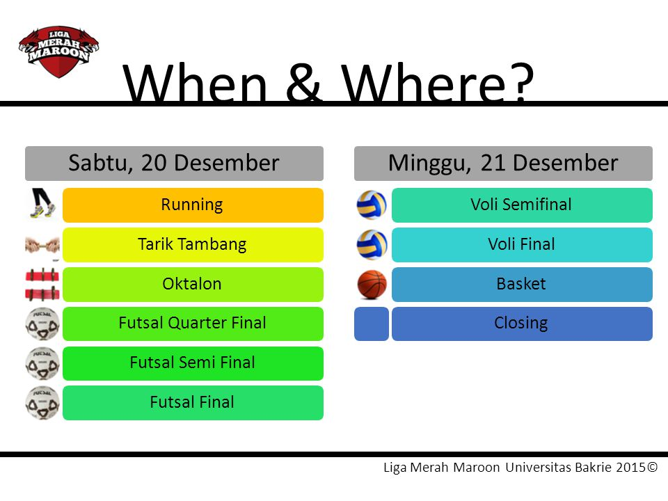When & Where Sabtu, 20 Desember Minggu, 21 Desember Running