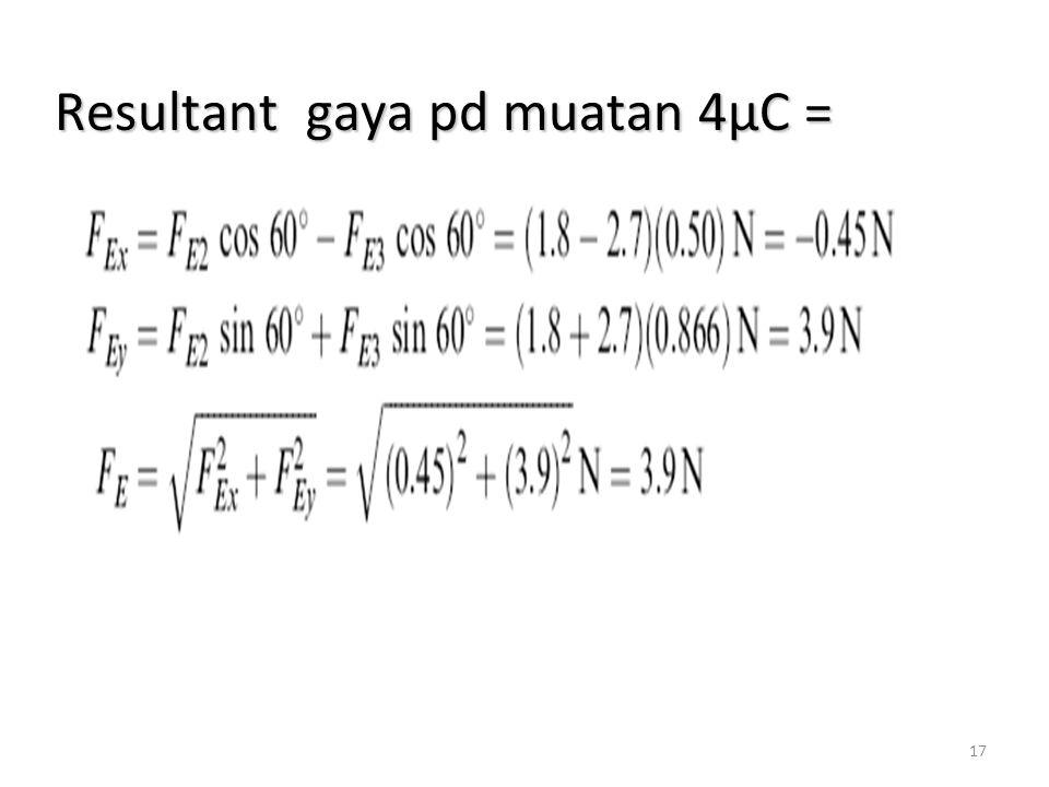 Resultant gaya pd muatan 4µC =
