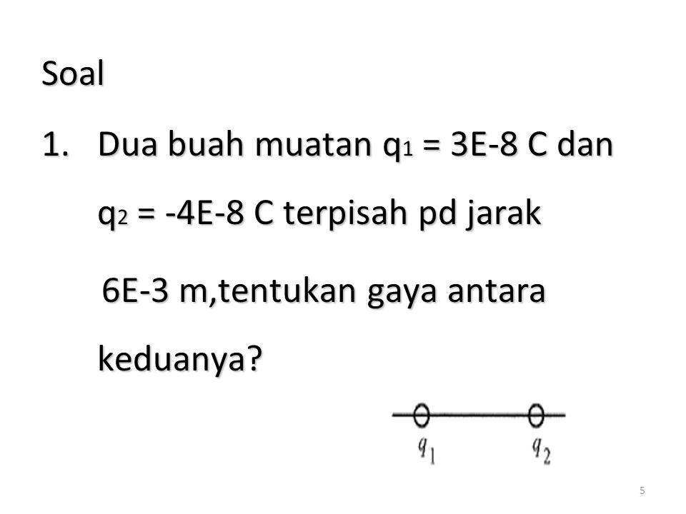 Soal Dua buah muatan q1 = 3E-8 C dan q2 = -4E-8 C terpisah pd jarak.