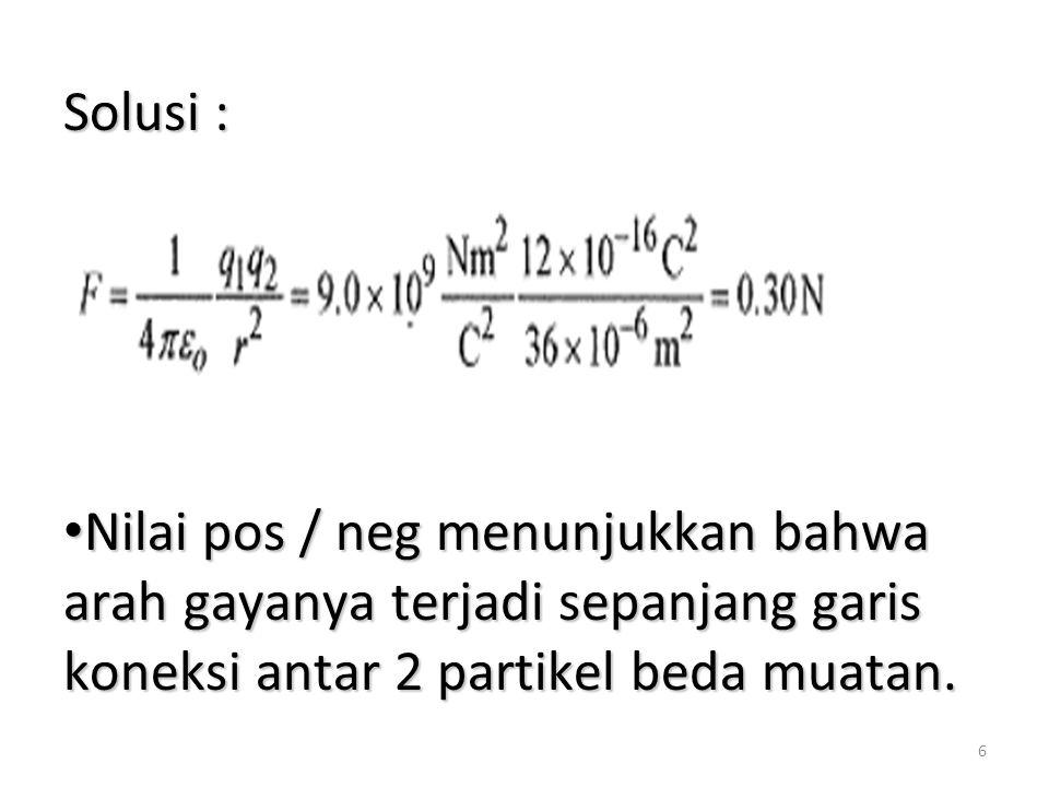 Solusi : Nilai pos / neg menunjukkan bahwa arah gayanya terjadi sepanjang garis koneksi antar 2 partikel beda muatan.
