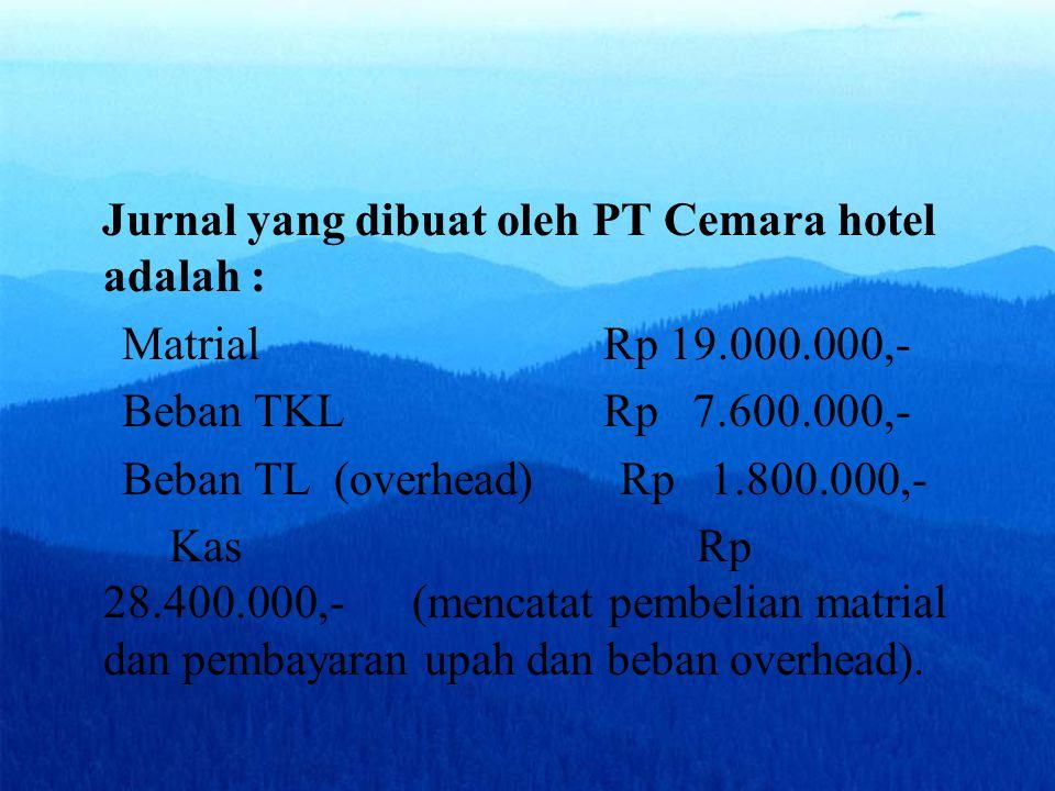 Jurnal yang dibuat oleh PT Cemara hotel adalah :