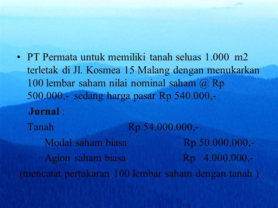 PT Permata untuk memiliki tanah seluas 1. 000 m2 terletak di Jl