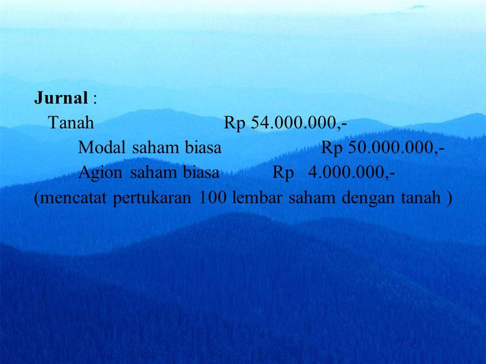 Jurnal : Tanah Rp 54.000.000,- Modal saham biasa Rp 50.000.000,- Agion saham biasa Rp 4.000.000,-