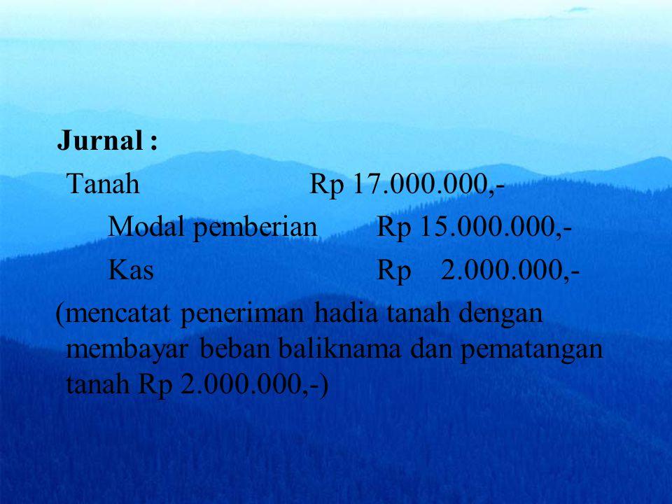 Jurnal : Tanah Rp 17.000.000,- Modal pemberian Rp 15.000.000,- Kas Rp 2.000.000,-