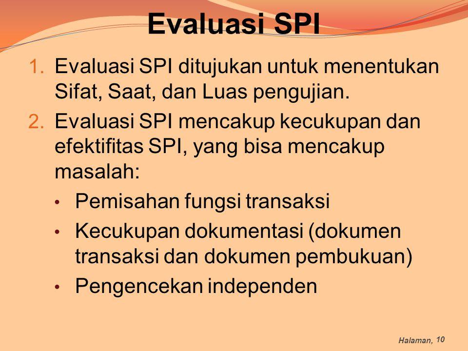 Evaluasi SPI Evaluasi SPI ditujukan untuk menentukan Sifat, Saat, dan Luas pengujian.