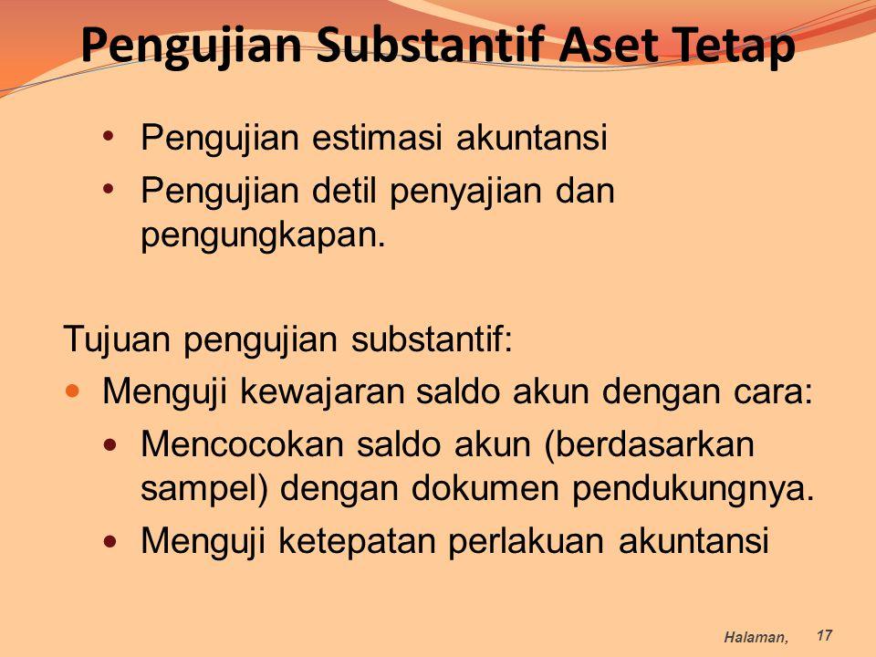 Pengujian Substantif Aset Tetap