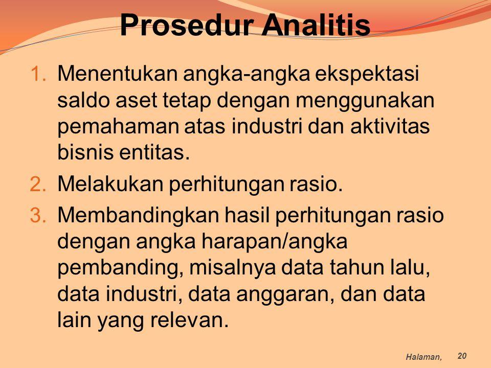 Prosedur Analitis Menentukan angka-angka ekspektasi saldo aset tetap dengan menggunakan pemahaman atas industri dan aktivitas bisnis entitas.