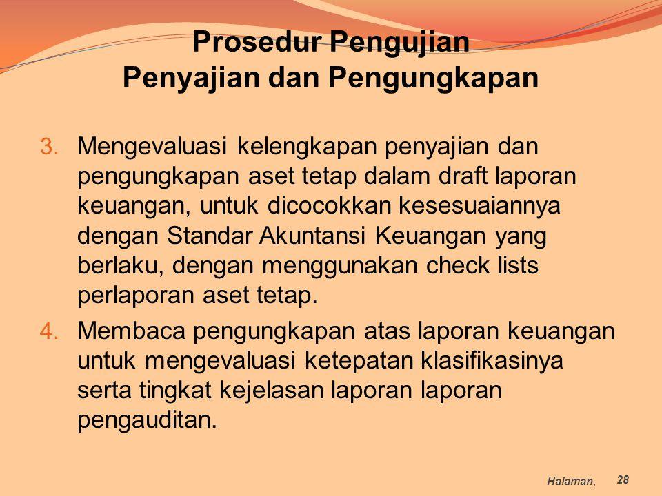 Prosedur Pengujian Penyajian dan Pengungkapan