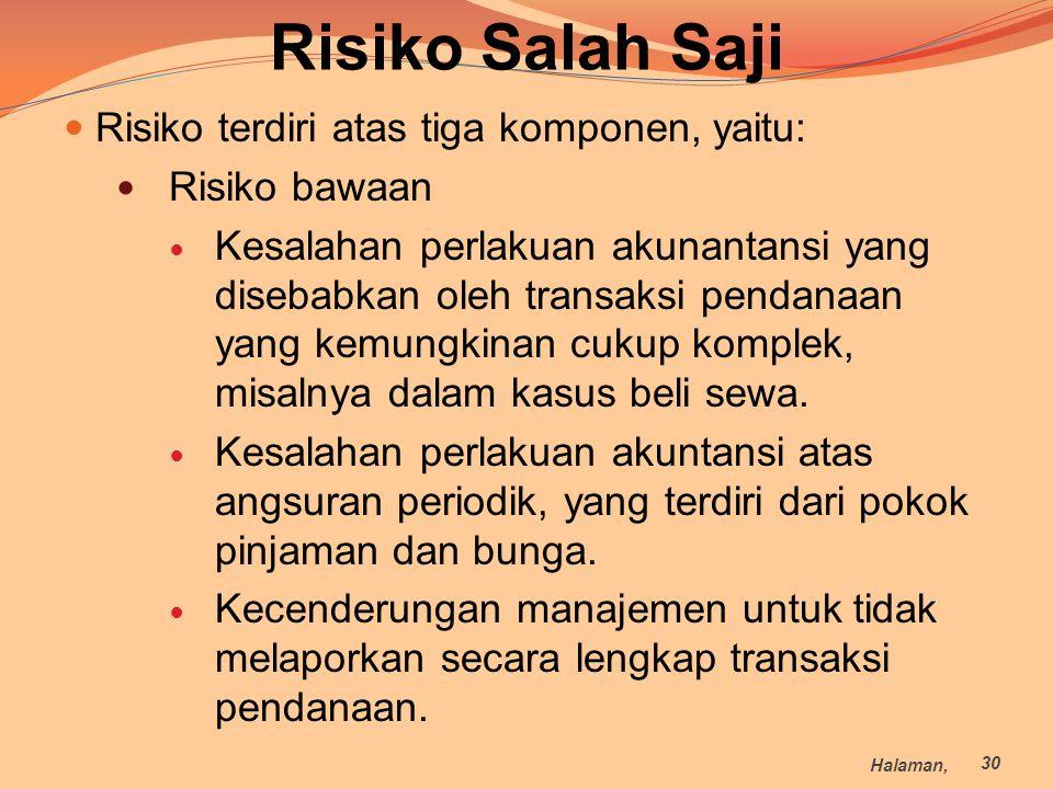 Risiko Salah Saji Risiko terdiri atas tiga komponen, yaitu: