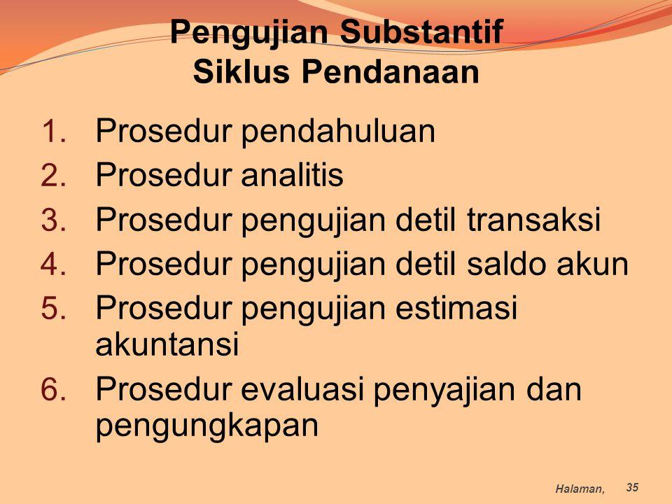 Pengujian Substantif Siklus Pendanaan