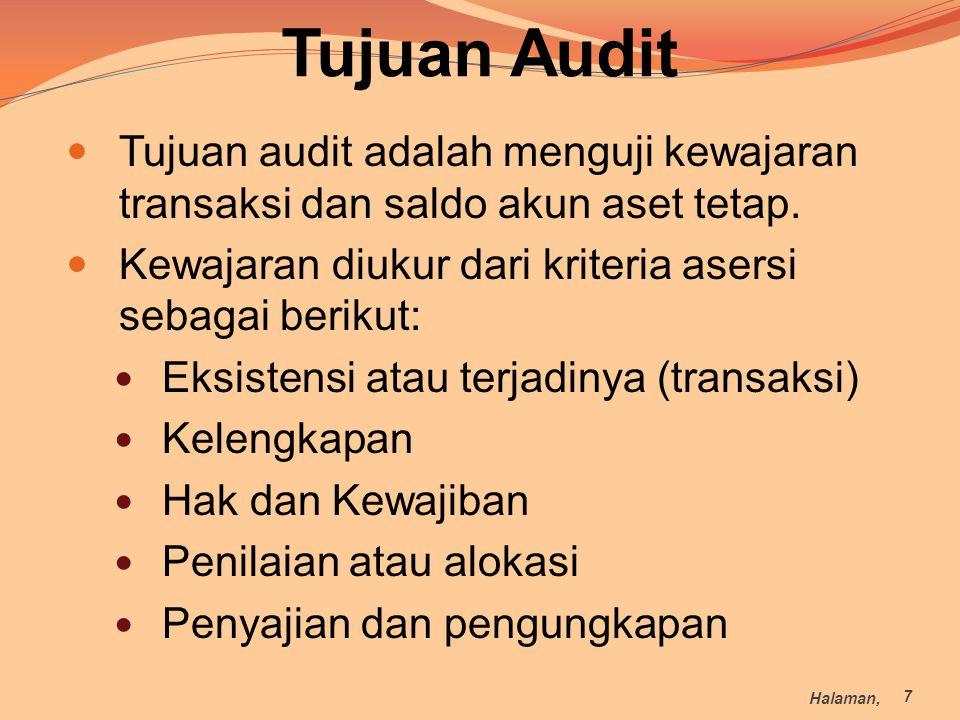 Tujuan Audit Tujuan audit adalah menguji kewajaran transaksi dan saldo akun aset tetap. Kewajaran diukur dari kriteria asersi sebagai berikut: