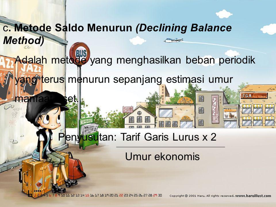 c. Metode Saldo Menurun (Declining Balance Method)