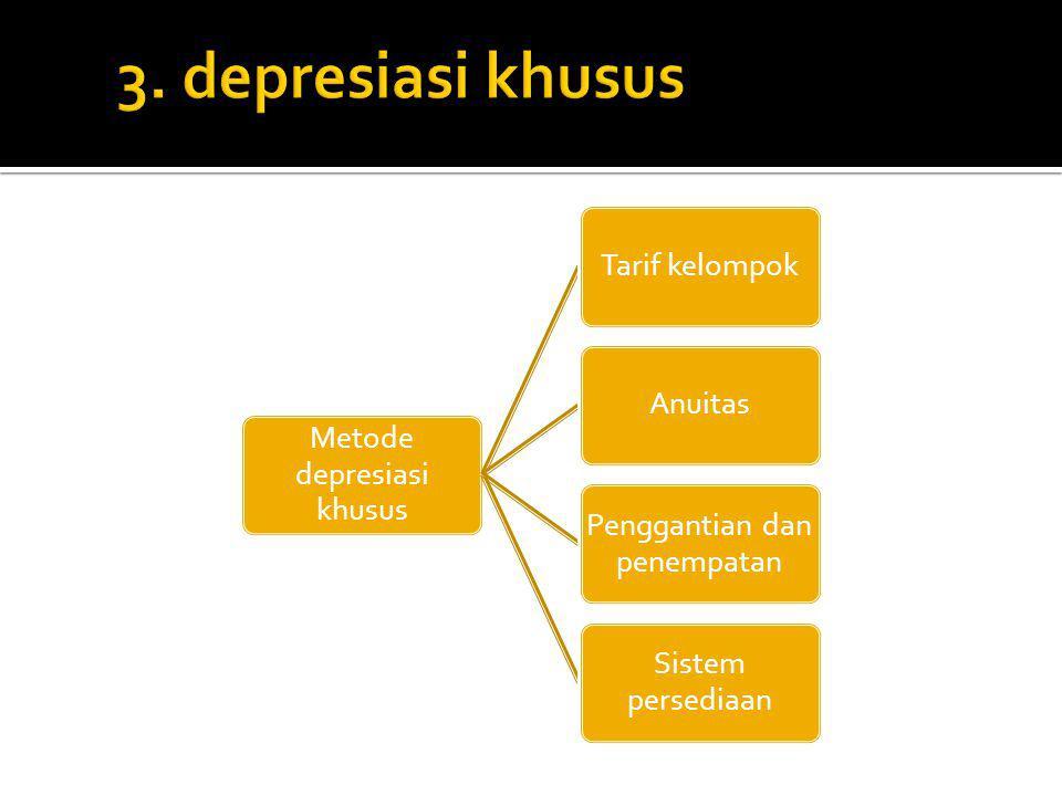 3. depresiasi khusus Metode depresiasi khusus Tarif kelompok Anuitas