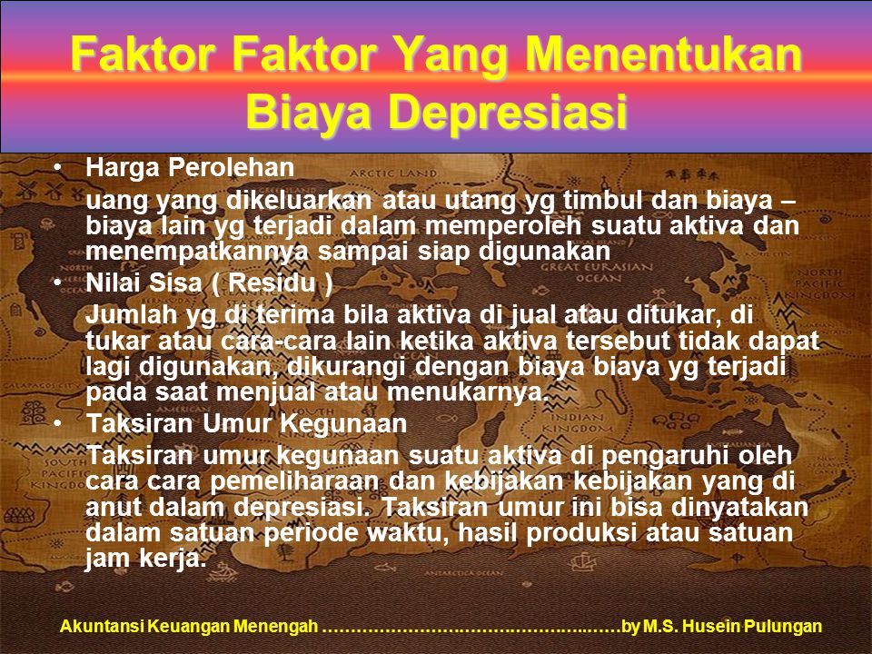 Faktor Faktor Yang Menentukan Biaya Depresiasi