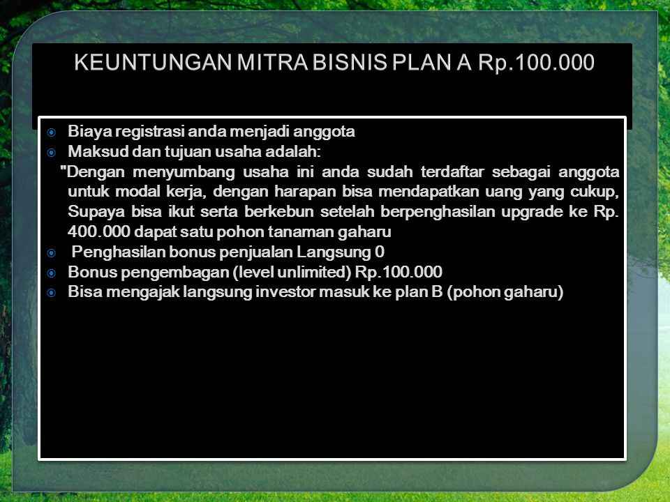 KEUNTUNGAN MITRA BISNIS PLAN A Rp.100.000