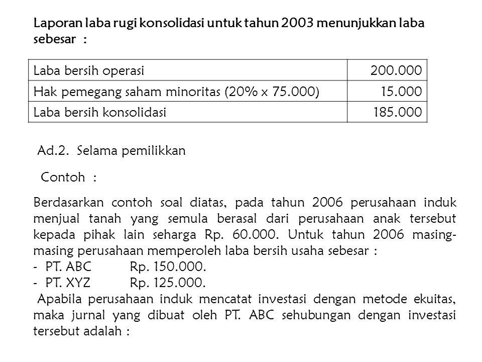 Laporan laba rugi konsolidasi untuk tahun 2003 menunjukkan laba sebesar :