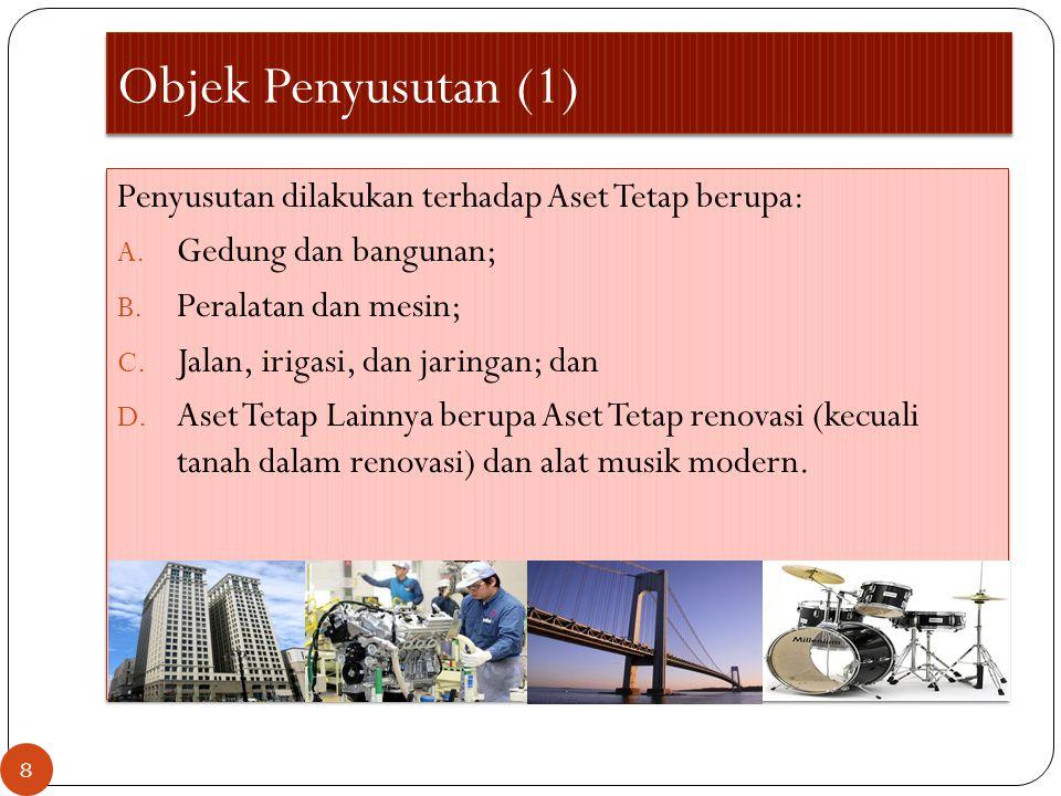 Objek Penyusutan (1) Penyusutan dilakukan terhadap Aset Tetap berupa: