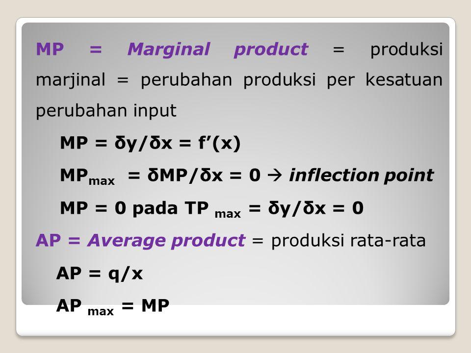 MP = Marginal product = produksi marjinal = perubahan produksi per kesatuan perubahan input MP = δy/δx = f'(x) MPmax = δMP/δx = 0  inflection point MP = 0 pada TP max = δy/δx = 0 AP = Average product = produksi rata-rata AP = q/x AP max = MP