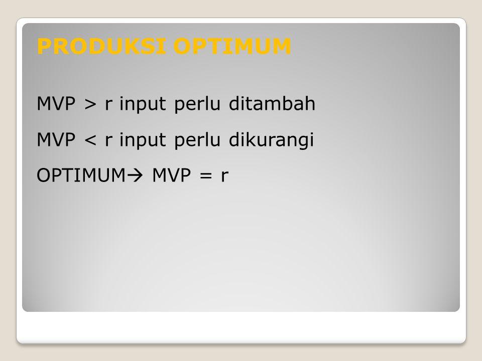 PRODUKSI OPTIMUM MVP > r input perlu ditambah