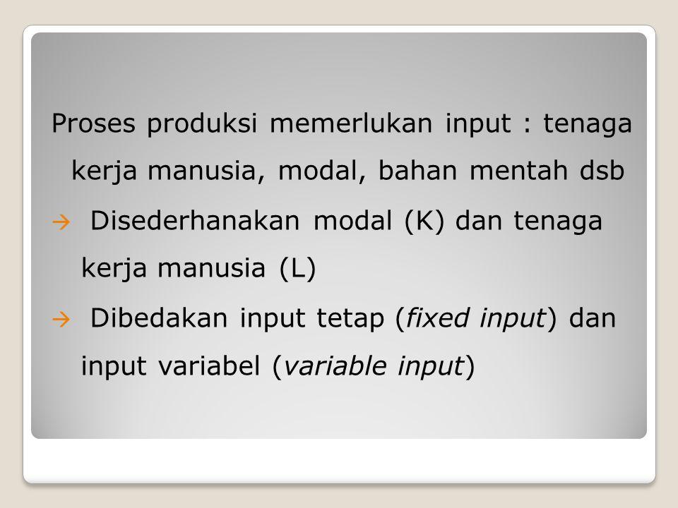 Proses produksi memerlukan input : tenaga kerja manusia, modal, bahan mentah dsb